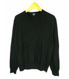 ユニクロ UNIQLO ニット セーター 薄手 長袖 無地 コットン 綿 351-423567(01-01) ブラック 黒 S スーピマコットンクルーネックセーター
