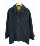 バーバリーズ Burberrys ステンカラー コート ハーフコート メルトン ウール 起毛 ジップアップ 無地 ダークグリーン 緑 サイズLA 日本製