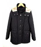 バーバリー ロンドン BURBERRY LONDON キルティング コート フード 中綿 裏地ノバチェック フロントボタン 黒 ブラック サイズ40 長袖 日本製