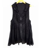 エイココンドウ EIKO KONDO ノースリーブ ロングベスト コート チュニック フード ジップアップ レース フレア 刺繍 ティアード シアー 薄手 黒 ブラック サイズ42