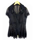 エイココンドウ EIKO KONDO 半袖 ジャケット コート チュニック 薄手 レース 刺繍 綿 コットン シアー シースルー ジップアップ 黒 ブラック サイズ42 襟ワイヤー入り