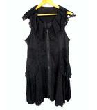 エイココンドウ EIKO KONDO ノースリーブ コート ロングベスト フレア ジップアップ レース 刺繍 リボン 薄手 シアー 綿 コットン 黒 ブラック サイズ42