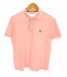 モンクレール MONCLER トップス ポロシャツ 半袖 鹿の子 ワンポイント ロゴ ワッペン ライン スリット コットン 綿 ピンク ホワイト 白 S