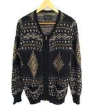 カーディガン 羽織り 長袖 ジップアップ ニット セーター 総柄 ポケット ウール混 毛 ブラックベース マルチカラー サイズ3