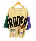 AROUND LOGO BIGトップス Tシャツ カットソー 五分袖 半袖 プリント ワッペン ビッグシルエット オーバーサイズ 420ESS90-0760 ベージュベース サイズFREE