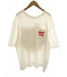paradise Tシャツ 半袖 五分袖 カットソー プリント ワッペン 胸ポケット 420ESM90-1740 綿 コットン ビッグシルエット 白ベース ホワイトベース サイズFREE