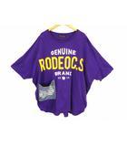 サイドポケットビッグTシャツ 半袖 五分袖 Tシャツ カットソー プリント デニムポケット ビッグシルエット 420DSQ90-0480 綿 コットン パープル 紫 サイズFREE