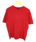 ニット Tシャツ カットソー 半袖 ワンポイント 刺繍 コットン 綿 リネン 麻 レッド 赤 M