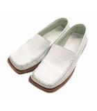 靴 シューズ ローファー スリッポン スクエアトゥ レザー 革 BA1002 ホワイト 白 サイズ35