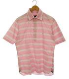 トップス シャツ 半袖 ハーフボタン ロゴ 刺繍 ボーダー コットン ピンク 白 2