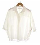 トップス オーバーシャツ 無地 七分袖 スキッパー プルオーバー ビッグシルエット コットン 綿 ホワイト 白 FREE