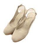靴 シューズ パンプス ハイヒール ピンヒール バックストラップ スウェード スエード レザー ベージュ サイズ24