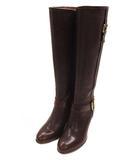 靴 シューズ ロングブーツ ベルト サイドファスナー チャンキーヒール レザー 革 ブラウン 茶 サイズ23 1/2