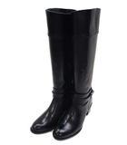 靴 シューズ ロングブーツ ベルト ローヒール サイドファスナー レザー 革 ブラック 黒 サイズ23 1/2