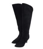 靴 シューズ ロングブーツ ハイヒール スウェード スエード レザー 革 ポインテッドトゥ ブラック 黒 サイズ23 1/2