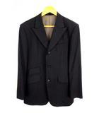 タケオキクチ TAKEO KIKUCHI スーツ セットアップ 上下セット シングル 3ボタン ウール 背抜き シャドーマイクロチェック 黒 ブラック サイズ3