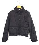 アウター 中綿ジャケット 中綿ベスト 上着 2way スタンドカラー ジップアップ 無地 ショート丈 ブラック 黒 M