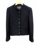 シャネル CHANEL ツイード ジャケット バンドカラー ウール シルク 無地 黒 ブラック サイズ38 国内正規品