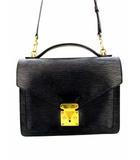 ルイヴィトン LOUIS VUITTON ハンドバッグ ショルダーバッグ ビジネスバッグ セカンドバッグ エピ モンソー M52122 レザー 革 鞄 カバン 鍵付き 黒 ブラック ノワール