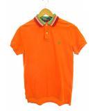 トップス ポロシャツ 半袖 ロゴ ワンポイント 刺繍 コットン オレンジ M