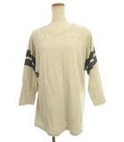 トップス カットソー Tシャツ 長袖 ドロップショルダー オフホワイト ダークグレー系