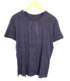 トップス カットソー Tシャツ 半袖 ボーダー ストレッチ レーヨン パープル 紫 L