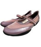 銀座ヨシノヤ ウォーキング シューズ レザーxメッシュ ストラップ 靴 くつ 日本製 紫 パープル Y01734
