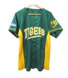 ミズノ MIZUNO ベースボール シャツ 野球 ウエア タイガース ユニフォーム ロゴ スポーツ 応援 L 緑 グリーン 黄 イエロー Y08956