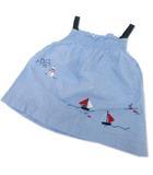 ファミリア Familiar キャミソール ジャンパースカート チュニック トップス キッズ ベビー 女の子 90 刺繍 ギャザー 青 ブルー Y09101