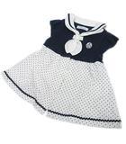 ベベ bebe ワンピース セーラー 切替 ドットスカート キッズ ベビー 女の子 半袖 前開き コットン S 紺 ネイビー 白 ホワイト Y09106