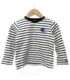 チャンピオン CHAMPION カットソー Tシャツ 長袖  ボーダー トップス キッズ 男の子 女の子 ロゴ刺繍 120 コットン 白 ホワイト 黒 ブラック Y09108
