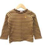 ミキハウス mikihouse カットソー Tシャツ 長袖 トップス 男の子 女の子 兼用 ボーダー ロゴ刺繍 コットン キッズ 120 茶 ブラウン ベージュ Y09115