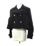 ミュウミュウ miumiu 美品 ショート Pコート ジャケット ダブルボタン イタリア製 正規品 40 黒 ブラック S10626 FNM