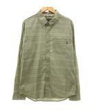 ナイキ NIKE シャツ 長袖 チェック ボタンダウン コットン ストレッチ 胸ポケット M カーキ 緑 グリーン R13309