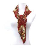 ケティ KETTY スカーフ プリーツ 花柄 フラワー プリント ダイヤ型 ひし形 赤 レッド R13324