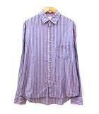 カトー KATO` シャツ 長袖 ストライプ ボタン 胸ポケット 麻 ラミー混 L 青 ブルー 赤 レッド R113002