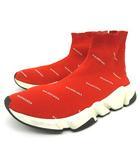 バレンシアガ BALENCIAGA 総ロゴ スニーカー スピード トレーナー ミッド オーバーロゴ ソックス シューズ イタリア製 40 26.5cm 赤 レッド S011201 ☆AA★