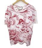 グッチ GUCCI x Disney ☆AA★ 17SS Tシャツ 半袖 ドナルドダック ディズニー 国内正規 コットン XS 白 ホワイト 赤 レッド C010510