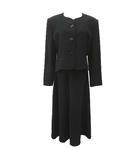 チャームルビー Charm Ruby フォーマル スカート スーツ ミモレ丈 セットアップ ノーカラージャケット 13 ゆったりサイズ 黒 ブラック R031815