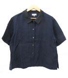 マーガレットハウエル MARGARET HOWELL リネン シャツ 半袖 シルク衿 バイカラー 1 紺 ネイビー 黒 ブラック NVW R080316