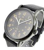 タイメックス TIMEX クオーツ 腕時計 CR2016 CELL ミリタリー ウォッチ INDIGLO アナログ 社外 レザーバンド 替えバンド付 黒 ブラック K062008