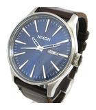 ニクソン NIXON クオーツ 腕時計 セントリー レザーバンド The Sentry Leather 100m防水 ウォッチ 青文字盤 茶 ブラウン K062007