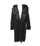 パピヨネ PAPILLONNER 毛皮 フーデッド コート ロング ゴートスキン オーバーサイズ ジャケット 38 Mサイズ 黒 ブラック S071214 NVW
