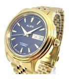 セイコー SEIKO ALBA 7S26-KPD0 腕時計 自動巻 メタル バンド 裏スケ スケルトン 黒文字盤 ウォッチ アルバ ゴールドx黒 K072406