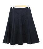アーペーセー A.P.C. スカート 膝丈 プリーツ フレア ウール XS 紺 ネイビー SEJ R091226