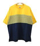 フラボア FRAPBOIS half ケービーTシャツ カットソー 半袖 ニット 切替 コットン 配色 クルーネック オーバーサイズ 2 黄色 イエロー 紺 ネイビー SEJ R091305