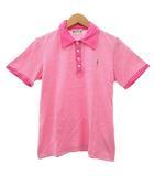 ワコマリア WACKO MARIA ポロシャツ カットソー 半袖 ボーダー ワンポイント刺繍 コットン S ピンク 白 ホワイト IBS91 R031505