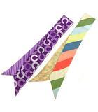 コーチ COACH ツイリースカーフ 2点セット シグネチャー 斜めストライプ シルク ベージュ 紫 パープル マルチカラー RRR R011314