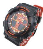 腕時計 GA-100BR 1AJF BIG CASE ビッグケース アナデジ クォーツ BRIGHT ORANGE COLOR 黒 ブラック オレンジ K021311