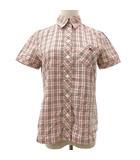 チェック シャツ ブラウス 半袖 コットン 胸ポケット ワンポイント刺繍 38 ピンク 国内正規 R041010